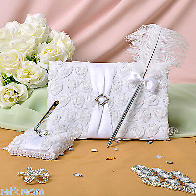 New White Flora Rose Wedding Ceremony Satin Guest Book Feather Pen set GB28b