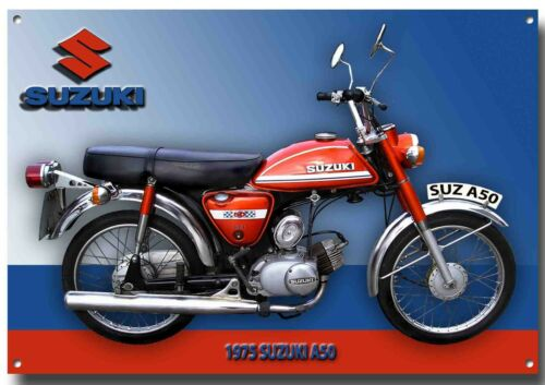 SUZUKI 1975 A50 CLASSIC MOPED METAL SIGN.HIGH GLOSS FINISH,VINTAGE JAPANESE BIKE