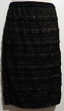 CHELSEA & VIOLET Black Gold Glitter Lace Tiers Straight Pencil Skirt L NEW! $78