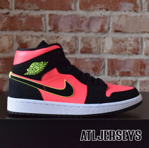 buy online 5801d 1afbe Details about Women Nike Air Jordan 1 Mid Black Volt Hot Punch White  BQ6472-006