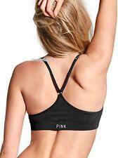 NWT Victoria's Secret SEAMLESS Racerback Yoga Sports Bralette Bra S Black