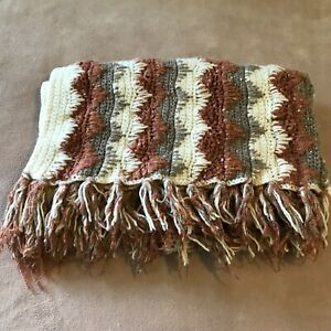 Vintage-Knitted-Afghan-Throw-Blanket-Brown-with-Metallic-Thread-Fringe-48-034-x-55-034