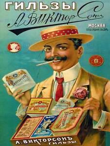 Viktorson-Cigarrillo-Papeles-De-Moscu-Rusia-Arte-Vintage-Publicidad-Cartel-1568PY