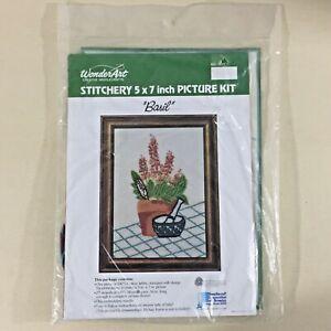 Basil-vintage-crewel-embroidery-kit-5111-Wonder-Art-plant-herb-floral-new