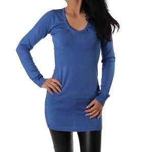 pullover damen feinstrick strickpullover lang pulli blau neu xxs s. Black Bedroom Furniture Sets. Home Design Ideas