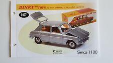 Dinky Toys Atlas - Fascicule SEUL de la Simca 1100 (Booklet only)