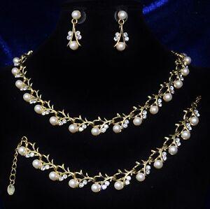Pratique Parure 3 Bijoux Collier Bracelet Boucles D'oreilles Cristal Perles Mariage P173