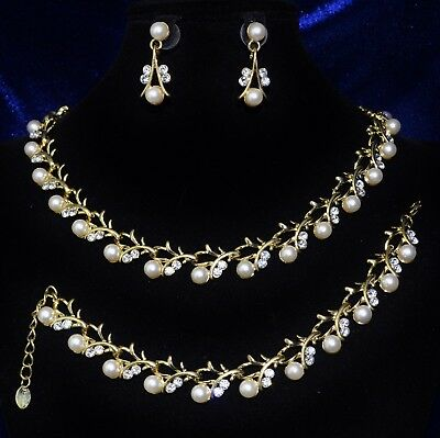 Bridal Jewelry Sunny Parure 3 Bijoux Collier Bracelet Boucles D'oreilles Cristal Perles Mariage P173