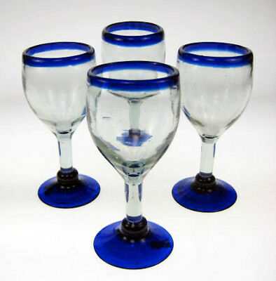 WINE Glasses, blue rim design, Mexican Glassware, 12 oz hand blown set of four