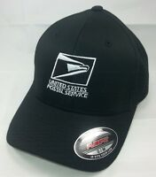Flexfit Embroidered Flexfit Baseball Hat Yupoong Black W/ White Emb / Usps1