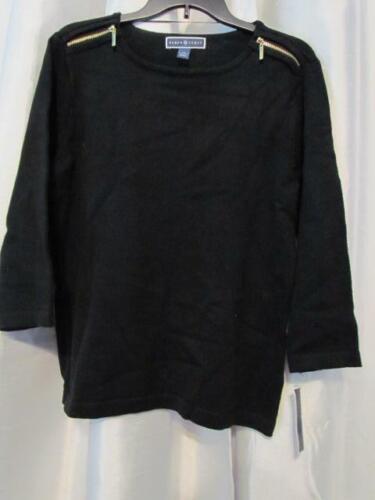 NWT Karen Scott Solid Zip Shoulder Sweater Deep Black M L XL Org $46.50