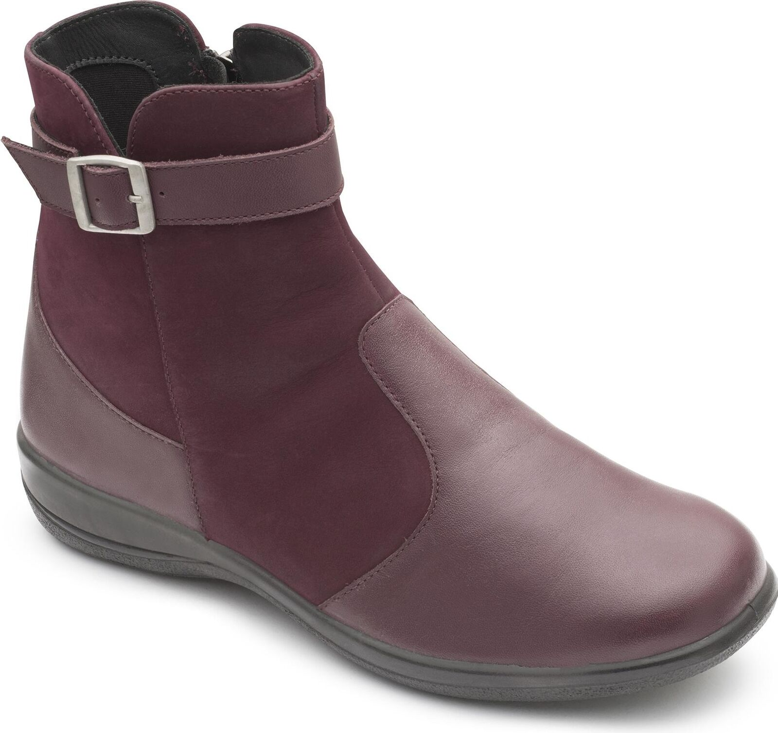 Padders Mary Señoras Para Mujer Calce De Cuero Calce Mujer Extra Ancho Doble (2E 3E) botas al Tobillo Ciruela 0df762