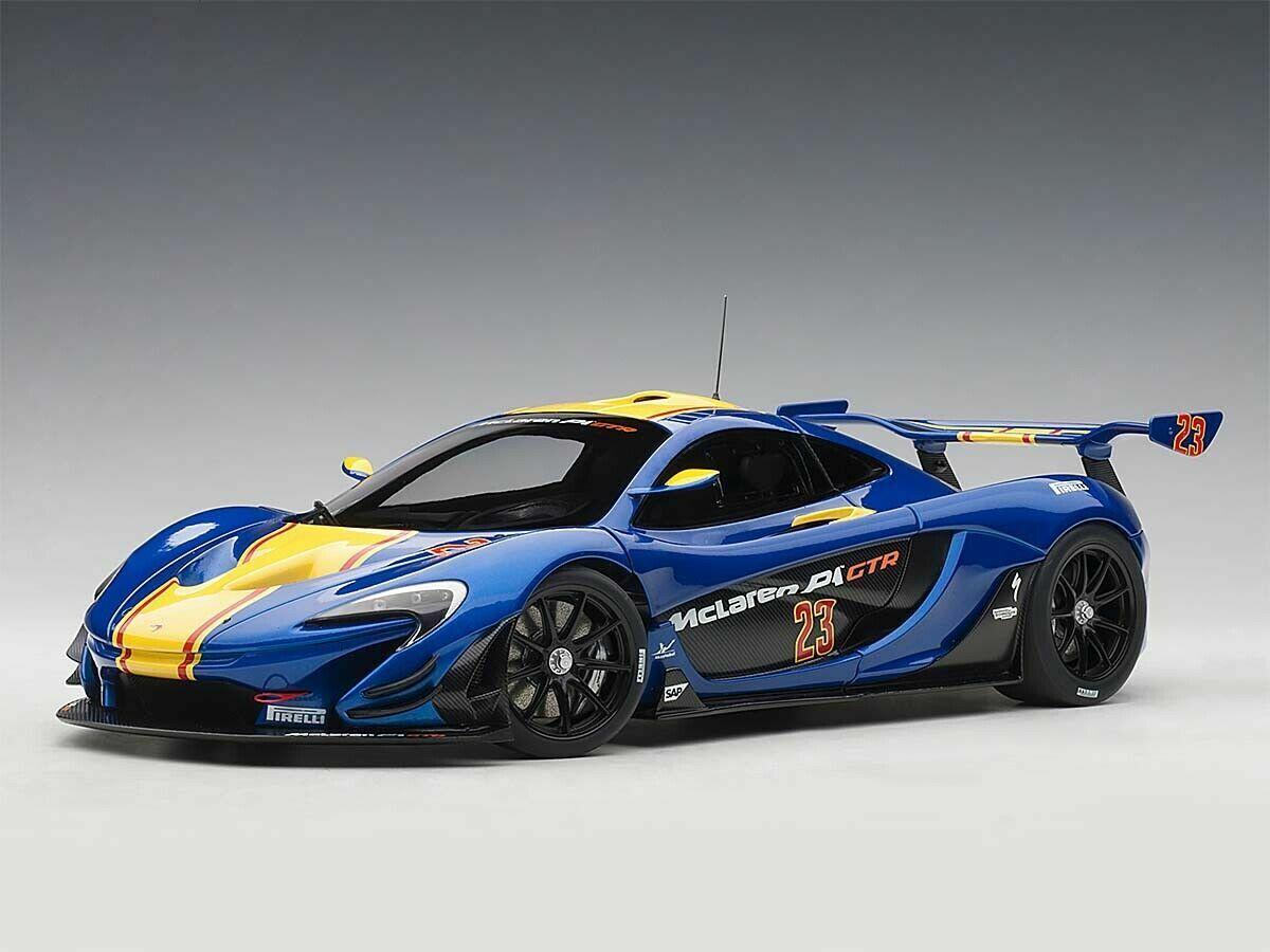 1 18 Autoart 81542 McLaren p1 GTR (metallic blu giallo Stripes) 2015