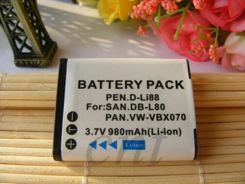 Nueva Batería para Sanyo DB-L80 DBL80 Pentax D-L188 DL188 D-Li88 VPC-GH1GX CS1PX X1