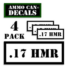 """17 HMR Ammo Can 4x Labels for Ammunition Case 3"""" x 1.15"""" sticker decal 4 pack WT"""