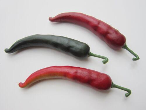 3 Deko Chilischoten 21 cm Chili Paprika rot grün Früchte Obst Gemüse künstlich