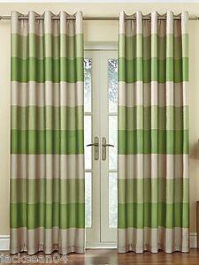 bresil-vert-beige-raye-Faux-Silk-Lined-Ring-Top-117cm-x-122cm-rideaux-OIR