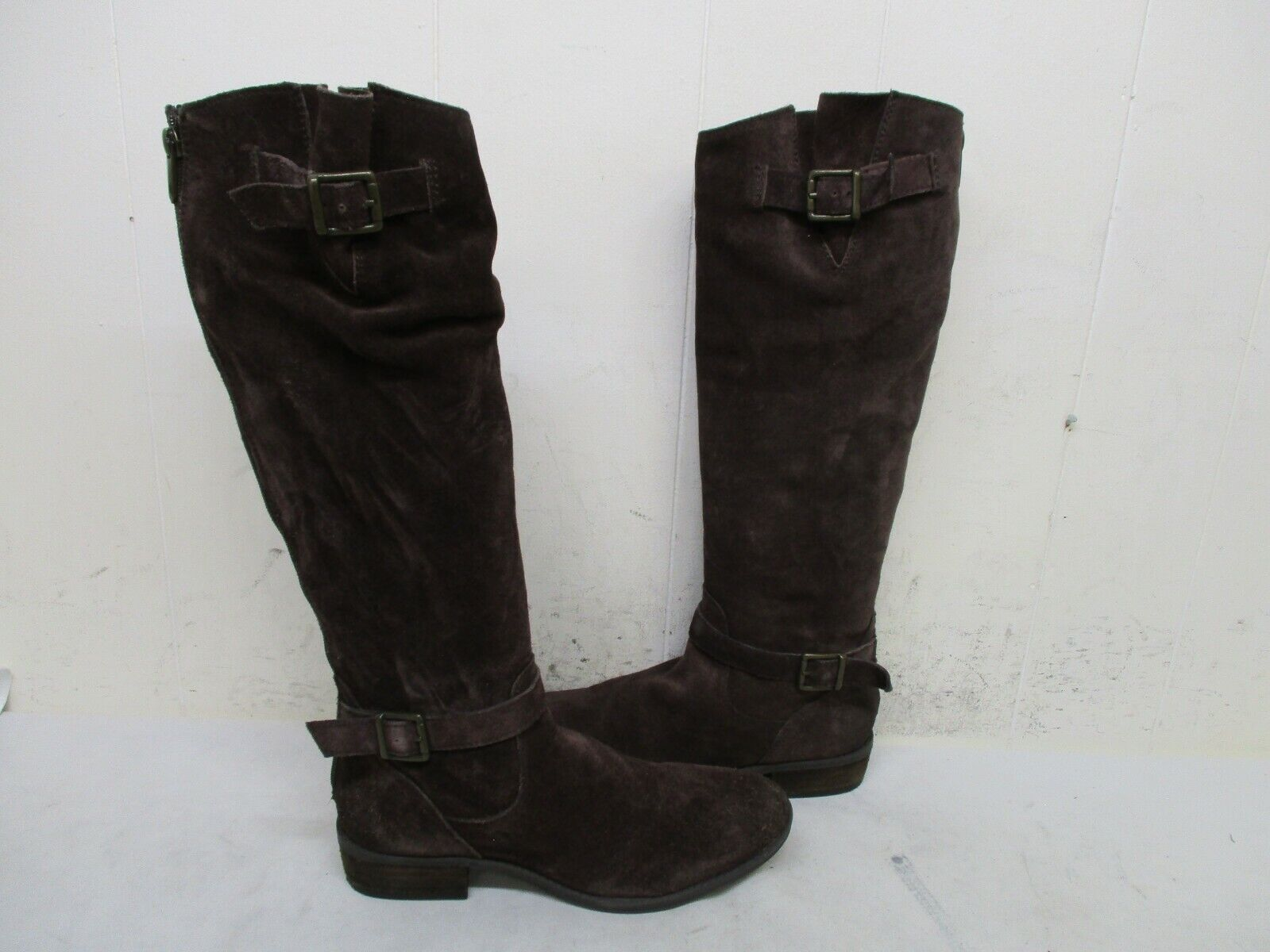 Sam Edelman Painter Brown Suede Leather Zip Knee High Boots Womens Size 7 M
