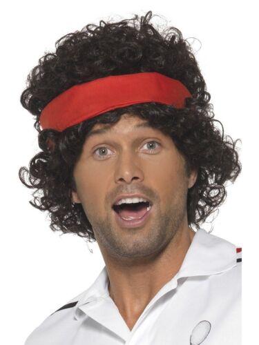 Joueur de tennis Années 80 Marron Perruque Adulte Homme Smiffys Costume Robe fantaisie