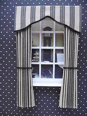 MINIATURE DOLLS HOUSE 12th SCALE CURTAINS DRAPES  -ELEGANCE RANGE 7 1/2 IN LONG