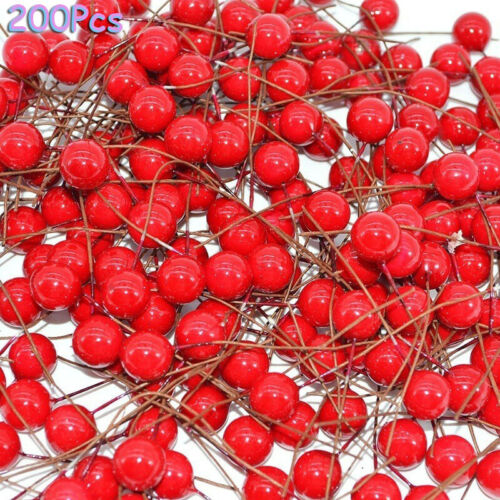 200Pcs Christmas Xmas Red Berry Pick Holly Branch Wreath Craft Decoration DIY