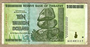Image Is Loading Zimbabwe 10 Trillion Dollars Banknote Aa 2008 P88