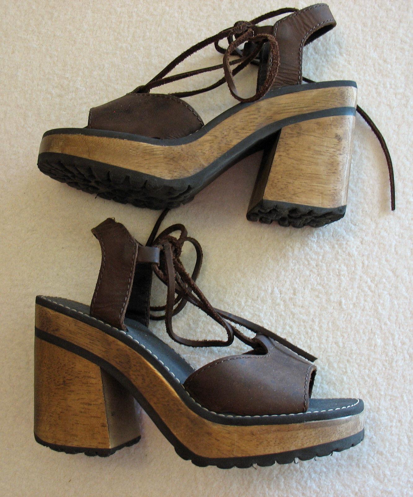 Para raio Ankle Lace Platform Sandals Size 37 (6.5)