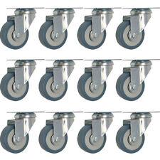 12 Pack 2 Inch Heavy Duty Swivel Wheel Rubber Plate Caster Lot