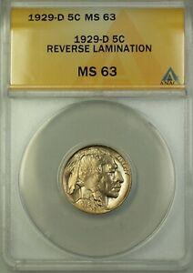 1929-D-Buffalo-Nickel-Coin-5c-ANACS-MS-63-Reverse-Lamination-Better-Coin