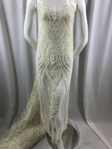 Beaded Embroidered one and a half yards Lace Fabric Ivory Bridal Mesh