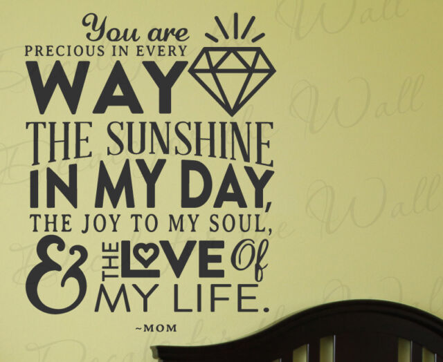 You Are Precious Sunshine Joy Soul Love Of My Life Mom Wall Decal Vinyl Art Q97