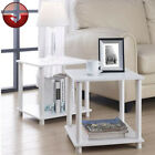 End Side Table Pair White Night Stand Living Room Cube Box Storage Unit SET OF 2