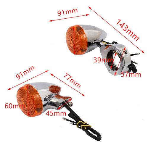 4x Motorcycle Chrome LED Front Rear 39mm Turn Signal Fork Clamp Light For Harley