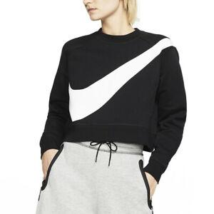 mitad de descuento predominante más vendido Nike Sudadera de Mujer Cuello Redondo Swoosh Crew Crop Negra ...