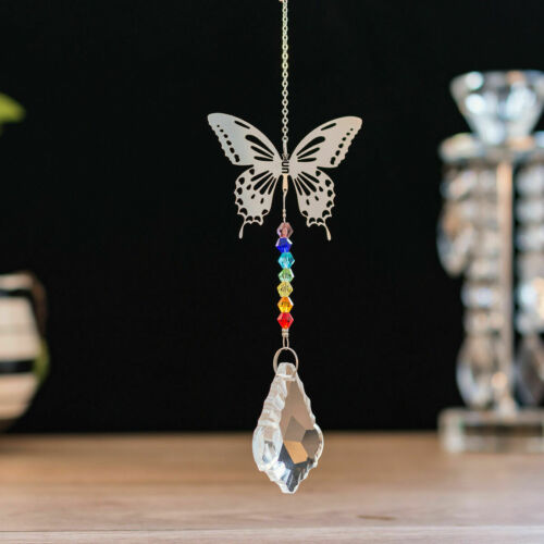 Rainbow Maker Butterfly Crystal Suncatcher Pendant Pendulum Wedding Decor Gift