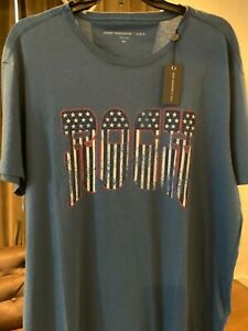 NWT-John-Varvatos-Star-USA-ROCK-Graphic-T-Shirt-Large-Blue-Red-White-and-Blue