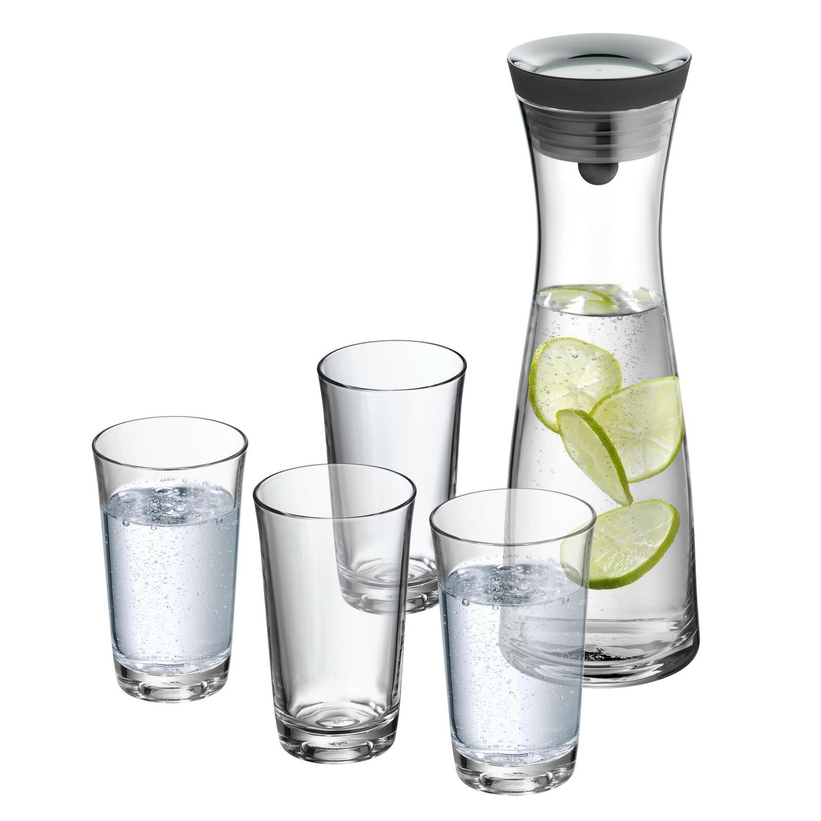 WMF Basic Set 5 Water Decanter with 4 Water Glass, 38.7 x 34.5 x 38.7 cm
