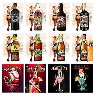 Retro metal Sign//Plaque Wall vintage Bar Gift Mermaid Martini
