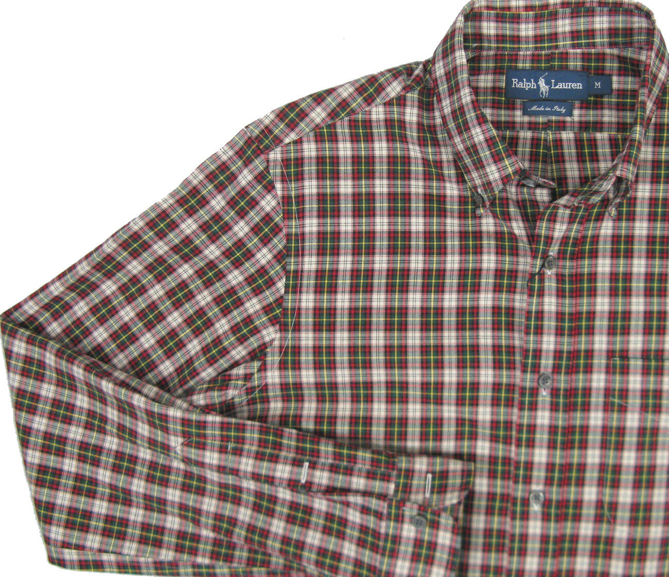 NEW  Polo Ralph Lauren Plaid Shirt   M  Button Front  Brushed Cotton  ITALY