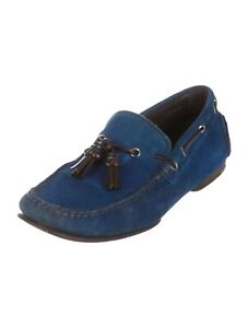 Tom-Ford-Royal-Blue-Suede-Leather-Slip-On-Loafers-W-Tassles-Size-8