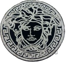 SILVER MEDUSA HEAD LOGO IRON ON/SEW ON EMBROIDERED PATCH 215