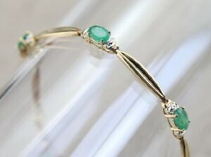 4Ct-Oval-Cut-Emerald-amp-Diamond-14K-Yellow-Gold-Over-Women-039-s-Wedding-Bracelet