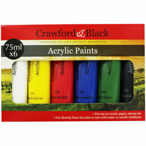 Crawford And Black Acrylic Paints - Set Of 6, Art & Craft, Brand New