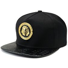 0a3bc7e7a15f4 Black Pharaoh 18k Gold Luxury Metal Hip Hop Egyptian King Snapback Hat Cap