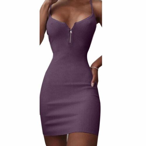 Womens V-Neck Front Zipper Mini Dress Bodycon Solid Straps Mini Pencil Dress