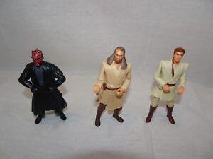 LOT-3-STAR-WARS-Action-Figures-Darth-Maul-Obi-Wan-Kenobi-Qui-Gon-Jin-1999-Hasbro