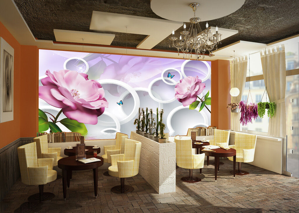 3D Simple Circle Flower5 Paper Wall Print Decal Wall Wall Murals AJ WALLPAPER GB
