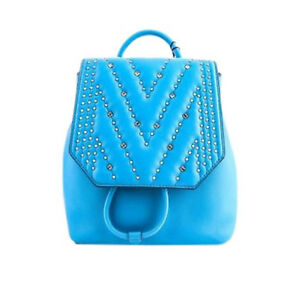 Details zu MCM Diamond Disco Mini Blue Backpack Crossbody Bag Crystal Stud Embe Authentic