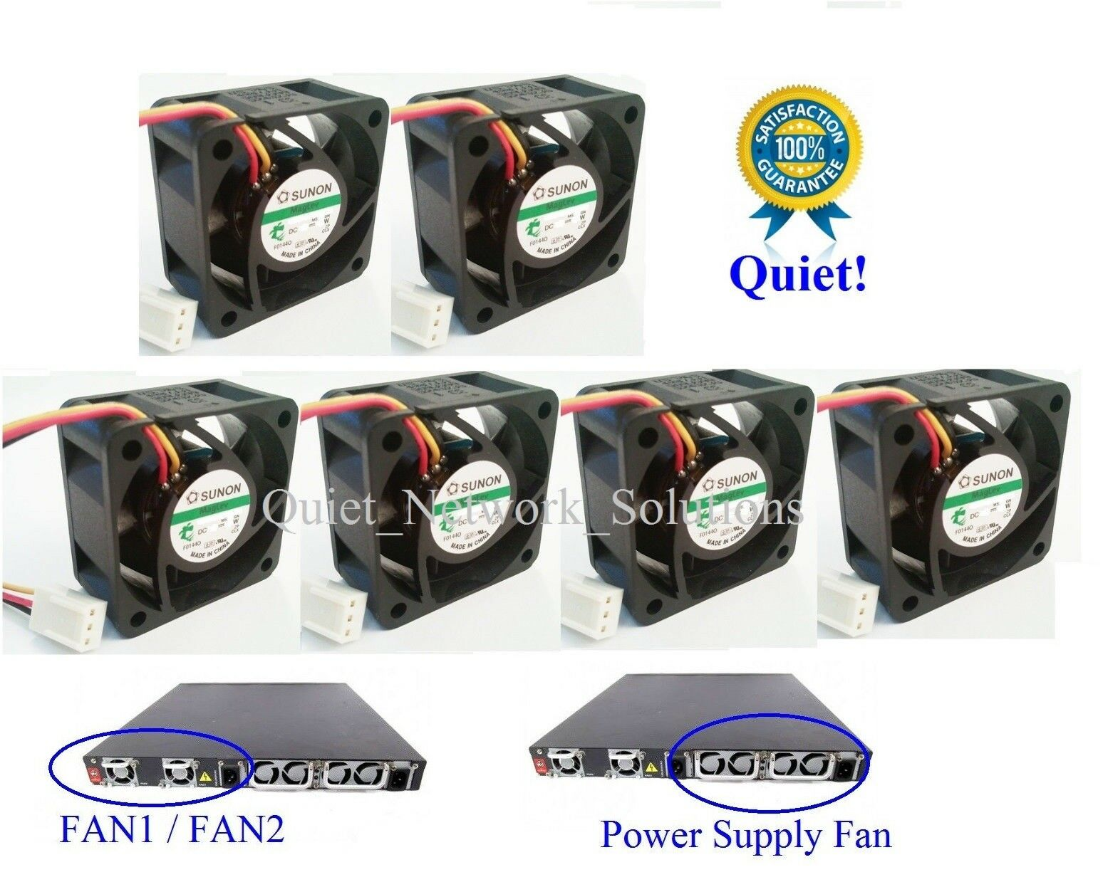 Lot of 6x New Fans Dell PowerConnect 6024F Complete 6x Assembly Fans Low Noise
