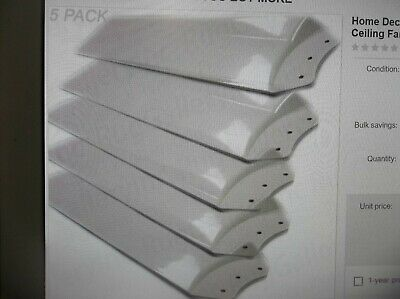 Home Decorators Merwry Led 52 In Gloss White Ceiling Fan Replacement Blade 5 Pk 845952000780 Ebay